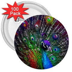 3d Peacock Pattern 3  Buttons (100 Pack)