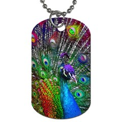 3d Peacock Pattern Dog Tag (One Side)
