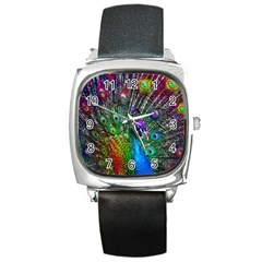 3d Peacock Pattern Square Metal Watch