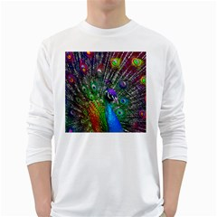 3d Peacock Pattern White Long Sleeve T Shirts
