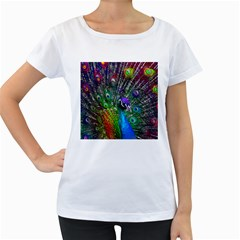 3d Peacock Pattern Women s Loose Fit T Shirt (white)