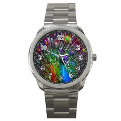 3d Peacock Pattern Sport Metal Watch