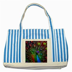 3d Peacock Pattern Striped Blue Tote Bag