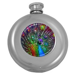 3d Peacock Pattern Round Hip Flask (5 Oz)