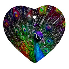 3d Peacock Pattern Heart Ornament (two Sides)