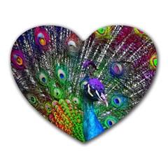 3d Peacock Pattern Heart Mousepads