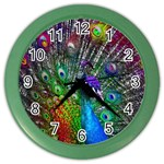 3d Peacock Pattern Color Wall Clocks Front