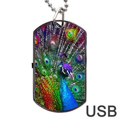 3d Peacock Pattern Dog Tag USB Flash (Two Sides)