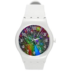 3d Peacock Pattern Round Plastic Sport Watch (m)