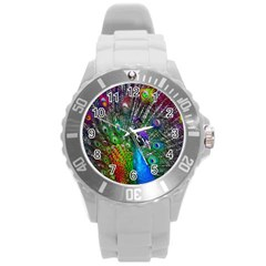 3d Peacock Pattern Round Plastic Sport Watch (l)