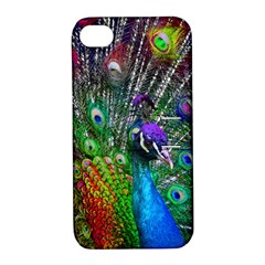 3d Peacock Pattern Apple Iphone 4/4s Hardshell Case With Stand