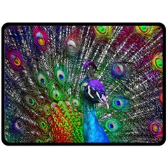 3d Peacock Pattern Double Sided Fleece Blanket (large)