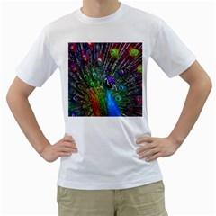 3d Peacock Pattern Men s T Shirt (white)