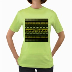 African Vector Patterns  Women s Green T Shirt