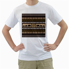 African Vector Patterns  Men s T-Shirt (White) (Two Sided)