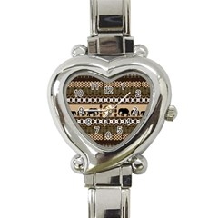 African Vector Patterns  Heart Italian Charm Watch