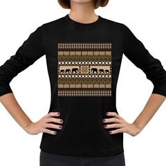 African Vector Patterns  Women s Long Sleeve Dark T-Shirts