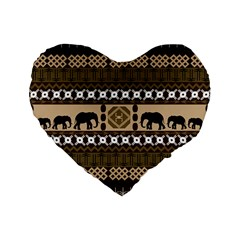 African Vector Patterns  Standard 16  Premium Flano Heart Shape Cushions