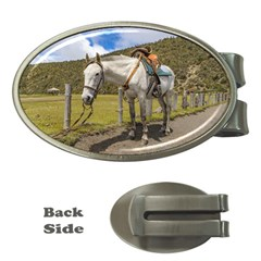 White Horse Tied Up at Cotopaxi National Park Ecuador Money Clips (Oval)