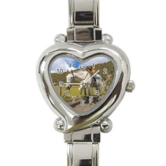 White Horse Tied Up at Cotopaxi National Park Ecuador Heart Italian Charm Watch
