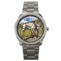 White Horse Tied Up at Cotopaxi National Park Ecuador Sport Metal Watch