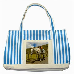 White Horse Tied Up at Cotopaxi National Park Ecuador Striped Blue Tote Bag