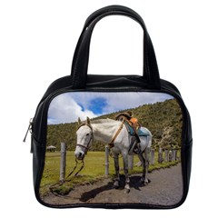 White Horse Tied Up at Cotopaxi National Park Ecuador Classic Handbags (One Side)