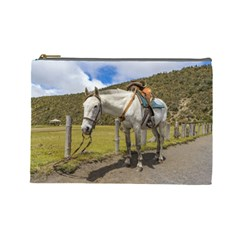 White Horse Tied Up at Cotopaxi National Park Ecuador Cosmetic Bag (Large)