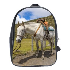 White Horse Tied Up at Cotopaxi National Park Ecuador School Bags(Large)
