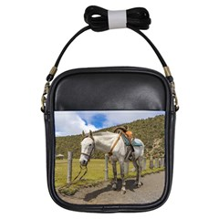 White Horse Tied Up at Cotopaxi National Park Ecuador Girls Sling Bags