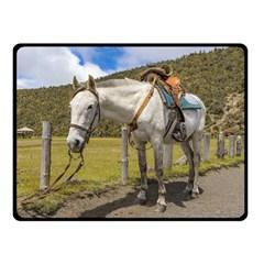 White Horse Tied Up at Cotopaxi National Park Ecuador Fleece Blanket (Small)