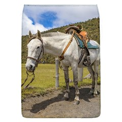 White Horse Tied Up at Cotopaxi National Park Ecuador Flap Covers (L)