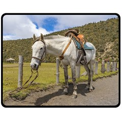 White Horse Tied Up at Cotopaxi National Park Ecuador Double Sided Fleece Blanket (Medium)