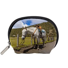 White Horse Tied Up at Cotopaxi National Park Ecuador Accessory Pouches (Small)