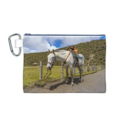 White Horse Tied Up at Cotopaxi National Park Ecuador Canvas Cosmetic Bag (M)