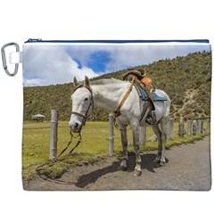 White Horse Tied Up at Cotopaxi National Park Ecuador Canvas Cosmetic Bag (XXXL)