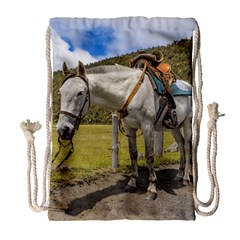 White Horse Tied Up at Cotopaxi National Park Ecuador Drawstring Bag (Large)