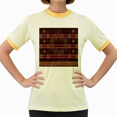 Ulos Suji Traditional Art Pattern Women s Fitted Ringer T Shirts