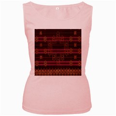Ulos Suji Traditional Art Pattern Women s Pink Tank Top