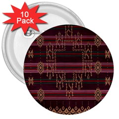Ulos Suji Traditional Art Pattern 3  Buttons (10 Pack)