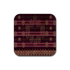 Ulos Suji Traditional Art Pattern Rubber Coaster (square)
