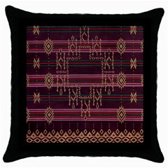 Ulos Suji Traditional Art Pattern Throw Pillow Case (black)