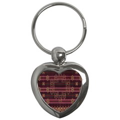 Ulos Suji Traditional Art Pattern Key Chains (heart)