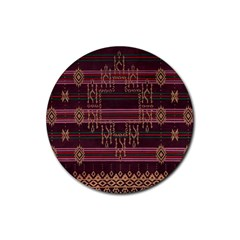 Ulos Suji Traditional Art Pattern Rubber Round Coaster (4 Pack)