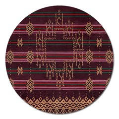 Ulos Suji Traditional Art Pattern Magnet 5  (Round)
