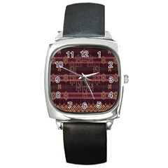 Ulos Suji Traditional Art Pattern Square Metal Watch