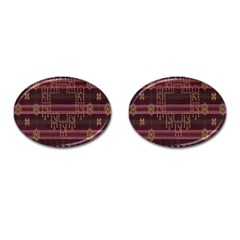 Ulos Suji Traditional Art Pattern Cufflinks (oval)
