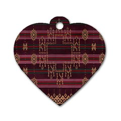 Ulos Suji Traditional Art Pattern Dog Tag Heart (One Side)