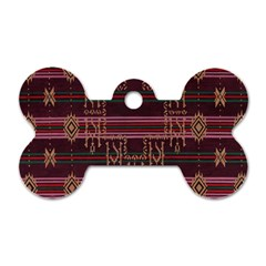 Ulos Suji Traditional Art Pattern Dog Tag Bone (two Sides)