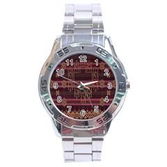 Ulos Suji Traditional Art Pattern Stainless Steel Analogue Watch